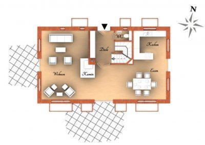 Der Grundriss im Erdgeschoss des Hauses