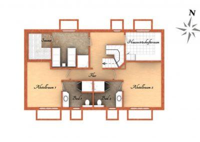 Der Grundriss im Untergeschoss des Hauses