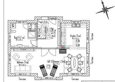 Der Grundriss im Erdgeschoss.