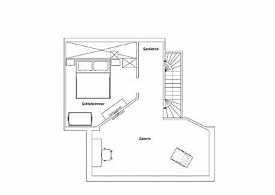 Der Grundriss im Dachgeschoss der Villa