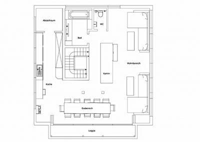 Der Grundriss im Obergeschoss der Villa