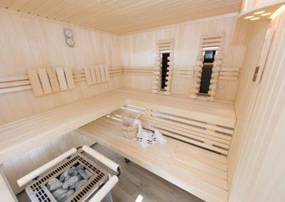 Hier wird geschwitzt: die hauseigene Sauna