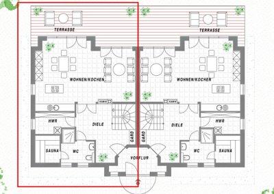 Der Grundriss im Erdgeschoss der Haushälfte