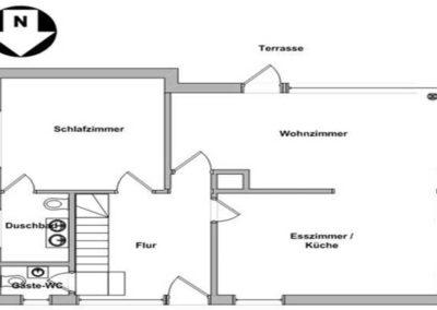 Der Grundriss im Erdgeschoss des Reetdachhauses