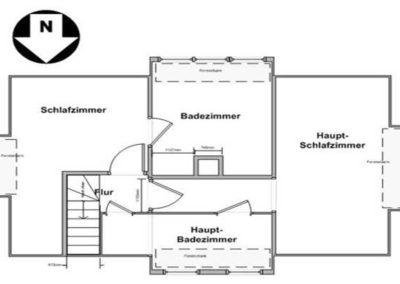 Der Grundriss im Obergeschoss des Reetdaachhauses