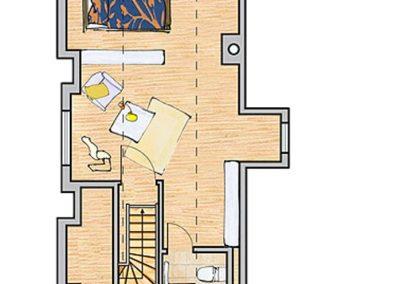 Der Grundriss der Villa im Dachgeschoss