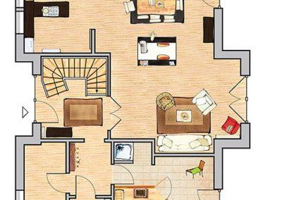 Der Grundriss der Villa im Erdgeschoss