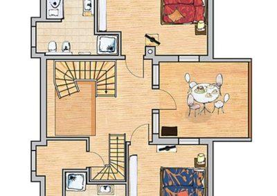 Der Grundriss der Villa im Obergeschoss