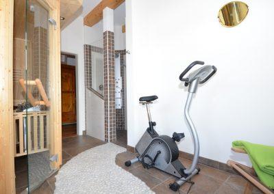 Fitness- und Entspannungsraum mit Sauna, Fahrrad, Wellnessdusche