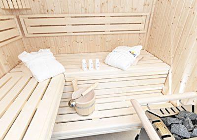 Eine Sauna und eine Dusche stehen im Wellbessbereich zur Verfügung.