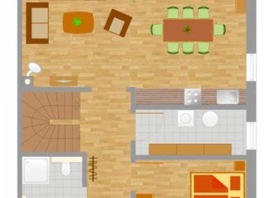 Grundriss des Erdgeschosses mit beispielhafter Einrichtung.