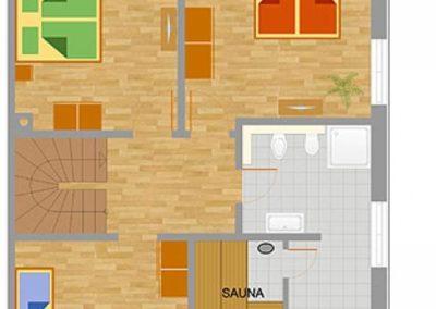 Grundriss im Erdgeschoss mit beispielhafter Einrichtung.