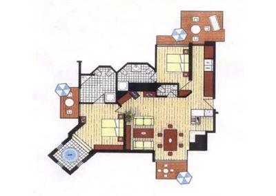 Der Grundriss des Penthouse. Angaben ohne Gewähr.