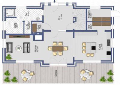 Der Grundriss im Erdgeschoss (Angaben ohne Gewähr)
