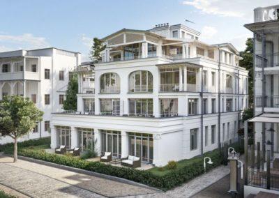 Die neu erbaute Villa in moderner Bäderarchitektur