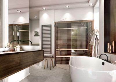 Visualisierung des exklusiven Badezimmers mit Sauna