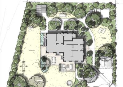 Das Haus ist umrahmt von bis zu 3 Meter hohen Pflanzen und Bäumen